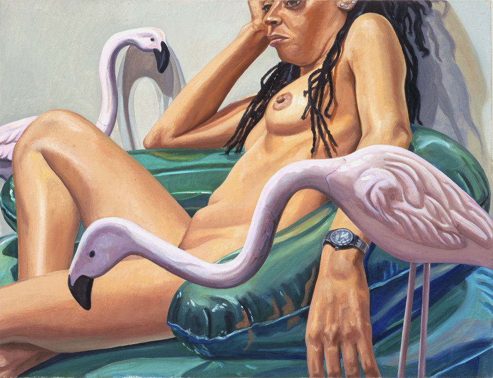 MODEL WITH TWO CEMENT FLAMINGOS , 2005 Oil on canvas 26 x 34 inches