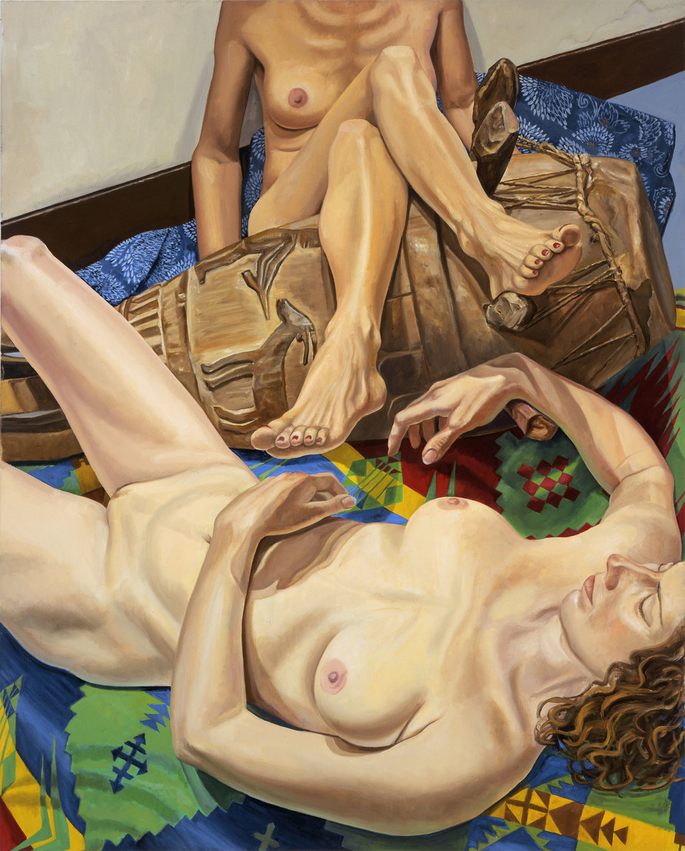 MODELS WITH AFRICAN DRUM , 2004  Oil on canvas   60 x 48 inches