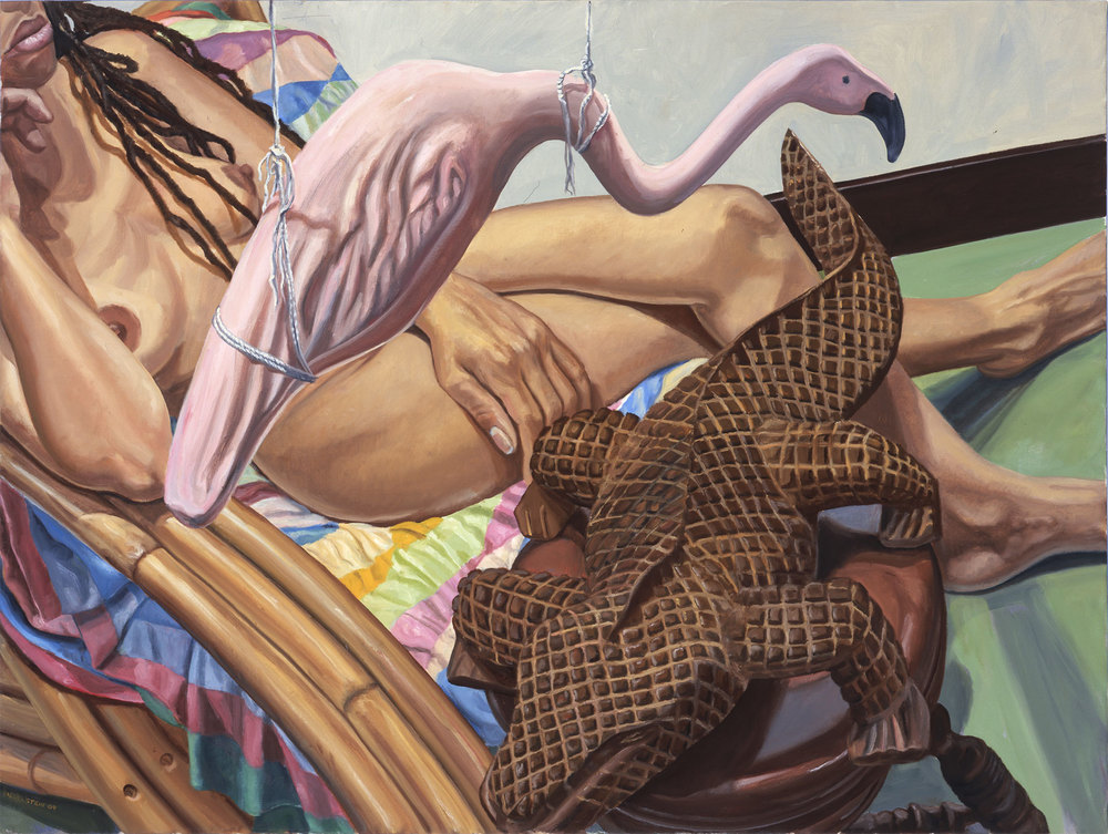 MODEL WITH DREADLOCKS, WOODEN ALLIGATOR AND PINK FLAMINGO , 2005 Oil on canvas 30 x 40 inches