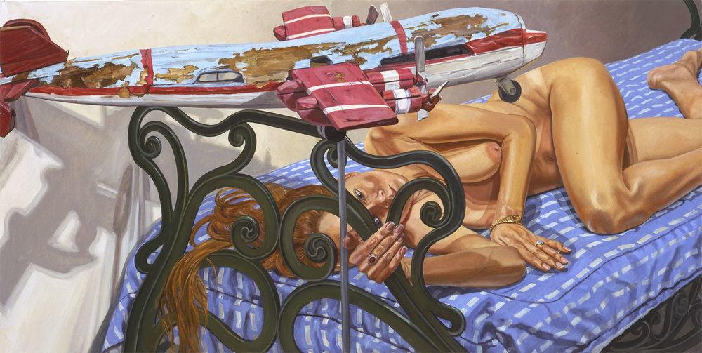 MODEL ON CAST IRON BED WITH WEATHERVANE AIRPLANE, #1 , 2005 Oil on canvas 36 x 72 inches