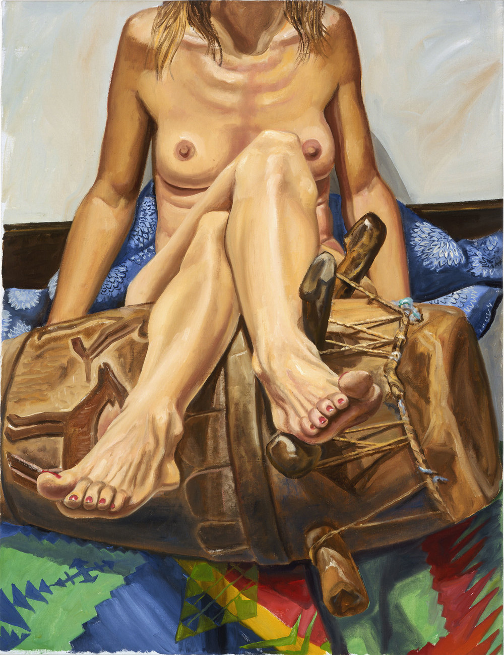 MODEL WITH LEGS CROSSED OVER AFRICAN DRUM , 2005 Oil on canvas 34 x 26 inches