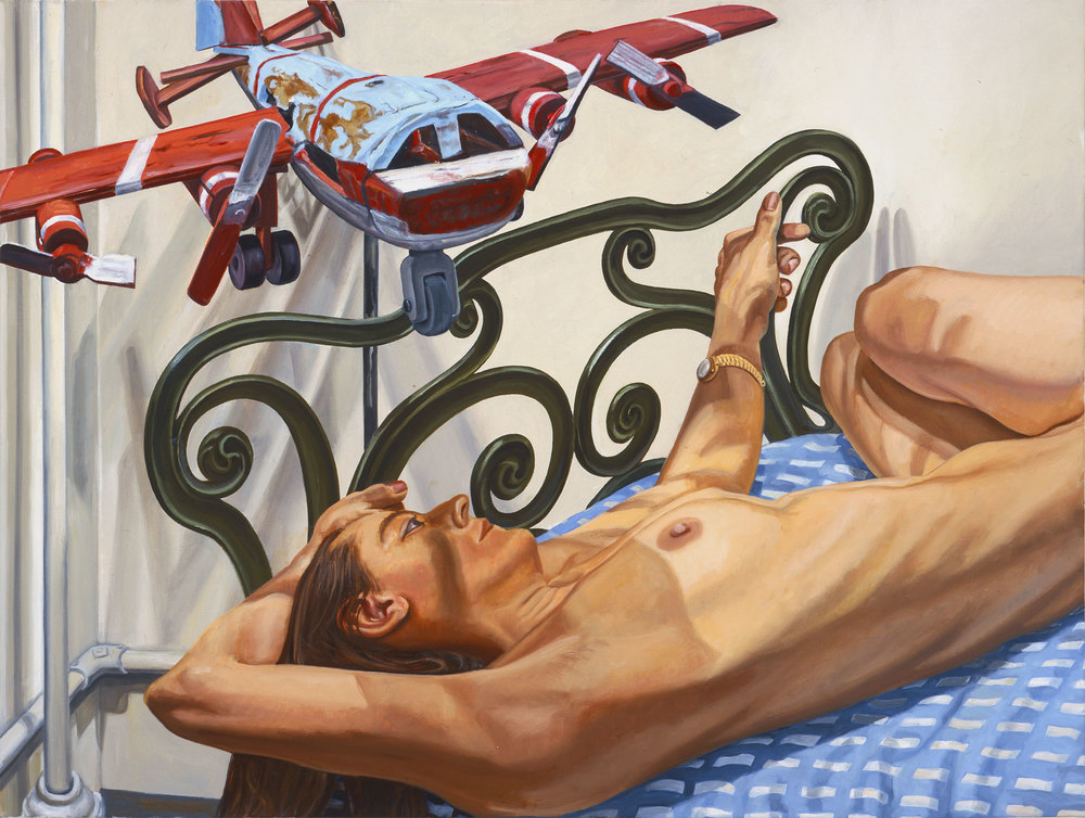 Model on Cast Iron Bed with Weathervane Airplane, #2 ,  2005   Oil on canvas   36 x 48 inches