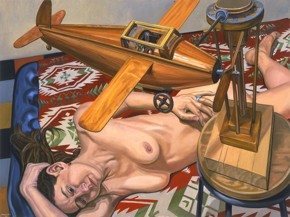MODEL WITH WOODEN AIRPLANE , 2005 Oil on canvas 36 x 48 inches