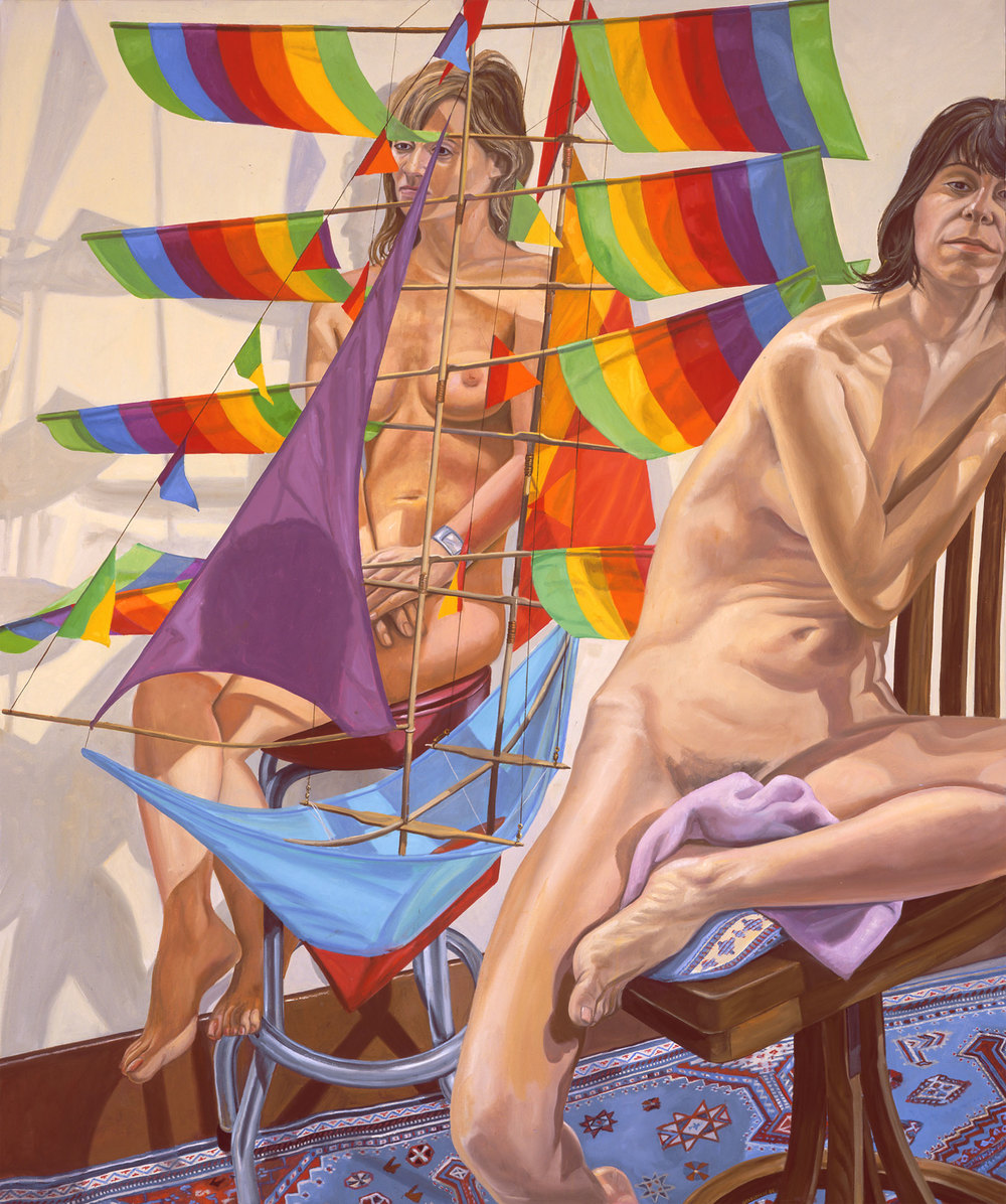 TWO MODELS WITH CHINESE KITE , 2005 Oil on canvas 72 x 60 inches