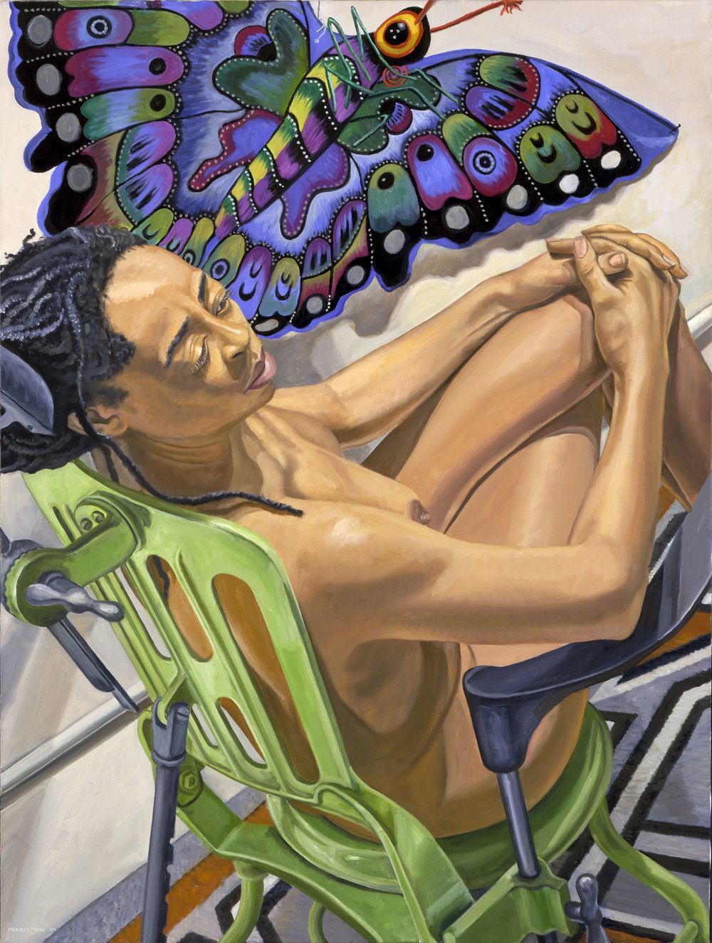 MODEL WITH BUTTERFLY KITE , 2006  Oil on canvas   48 x 36 inches