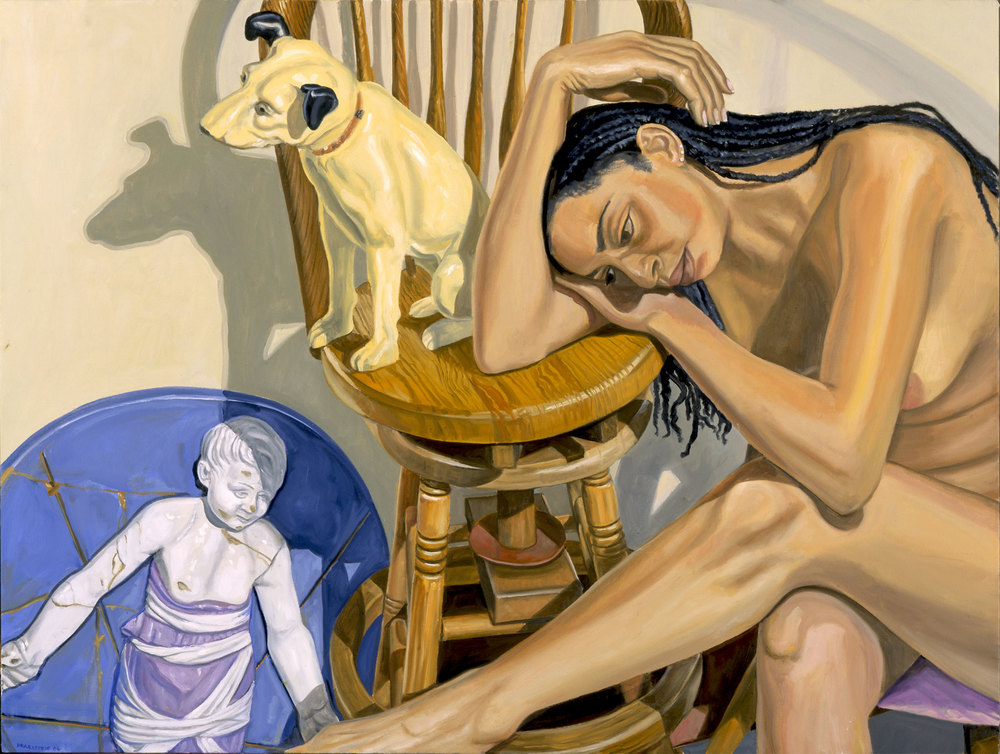MODEL WITH HMV DOG AND RENAISSANCE BAMBINO , 2006 Oil on canvas 36 x 48 inches