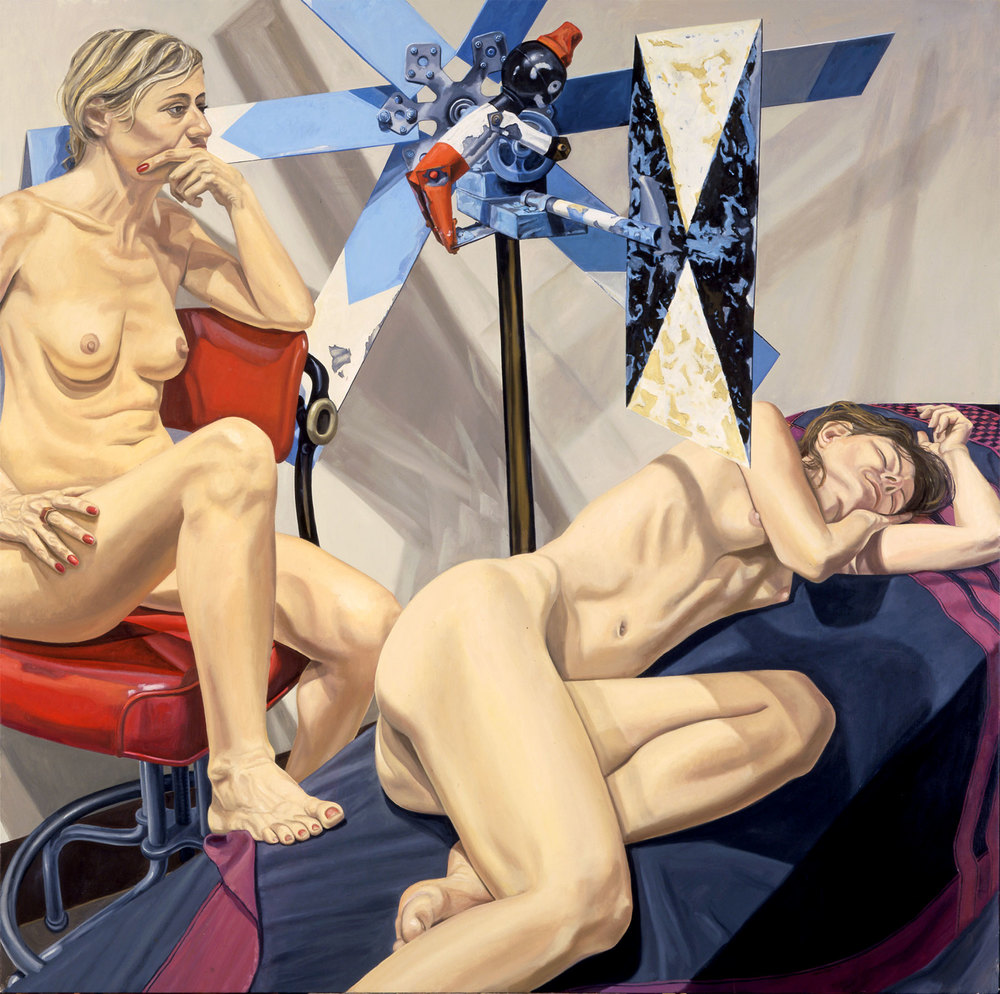 Two Models with Large WhirliGig , 2006 Oil on canvas 72 x 72 inches