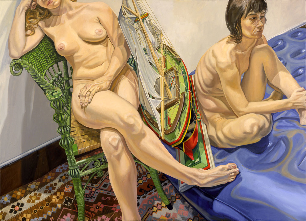 TWO MODELS WITH AIR MATTRESS AND MODEL SAILBOAT , 2006 Oil on canvas 60 x 84 inches