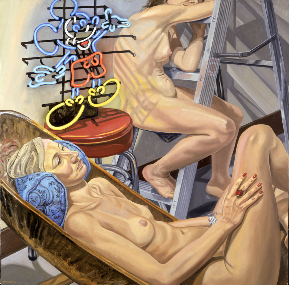 TWO MODELS, NEON MICKEY MOUSE, AFRICAN CHAIR & LADDER,  2006 Oil on canvas 48 x 48 inches