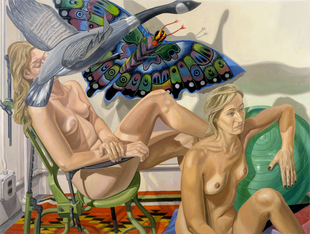 TWO NUDES WITH FLYING GOOSE, BUTTERFLY & EXAMINATION CHAIR , 2007 Oil on canvas 72 x 54 inches