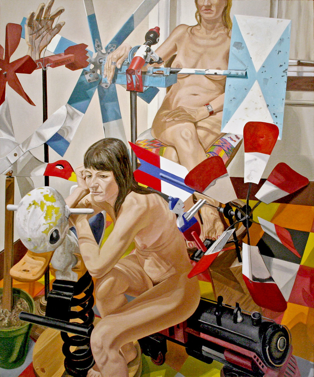 TWO MODELS WITH FOUR WHIRLYGIGS, BOUNCY DUCK AND LOCOMOTIVE , 2008 Oil on canvas 72 x 60 inches