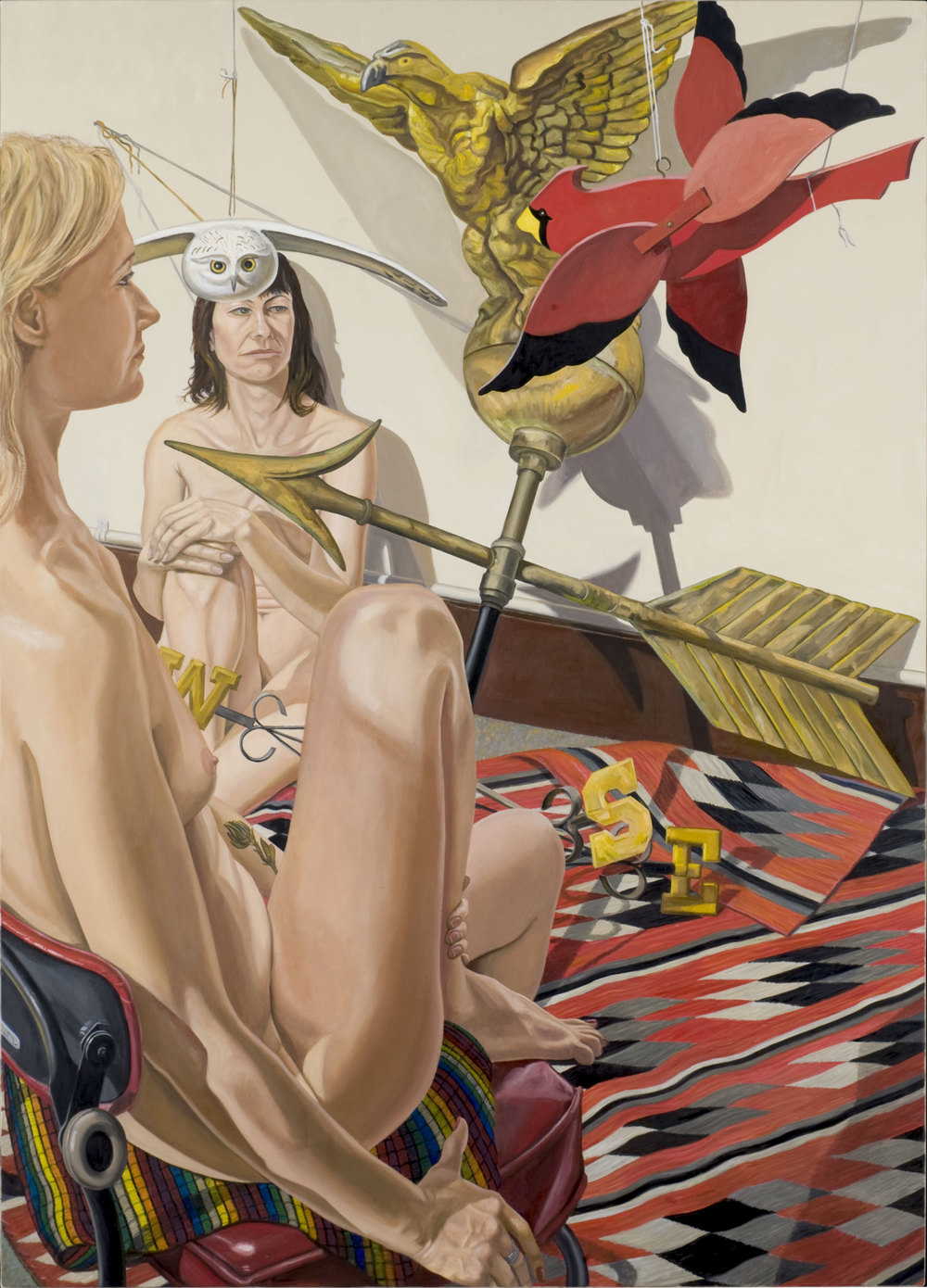 Two Models, Owl, Cardinal, Eagle Weather Vane , 2008 Oil on canvas 84 1/16 x 60 1/8 inches