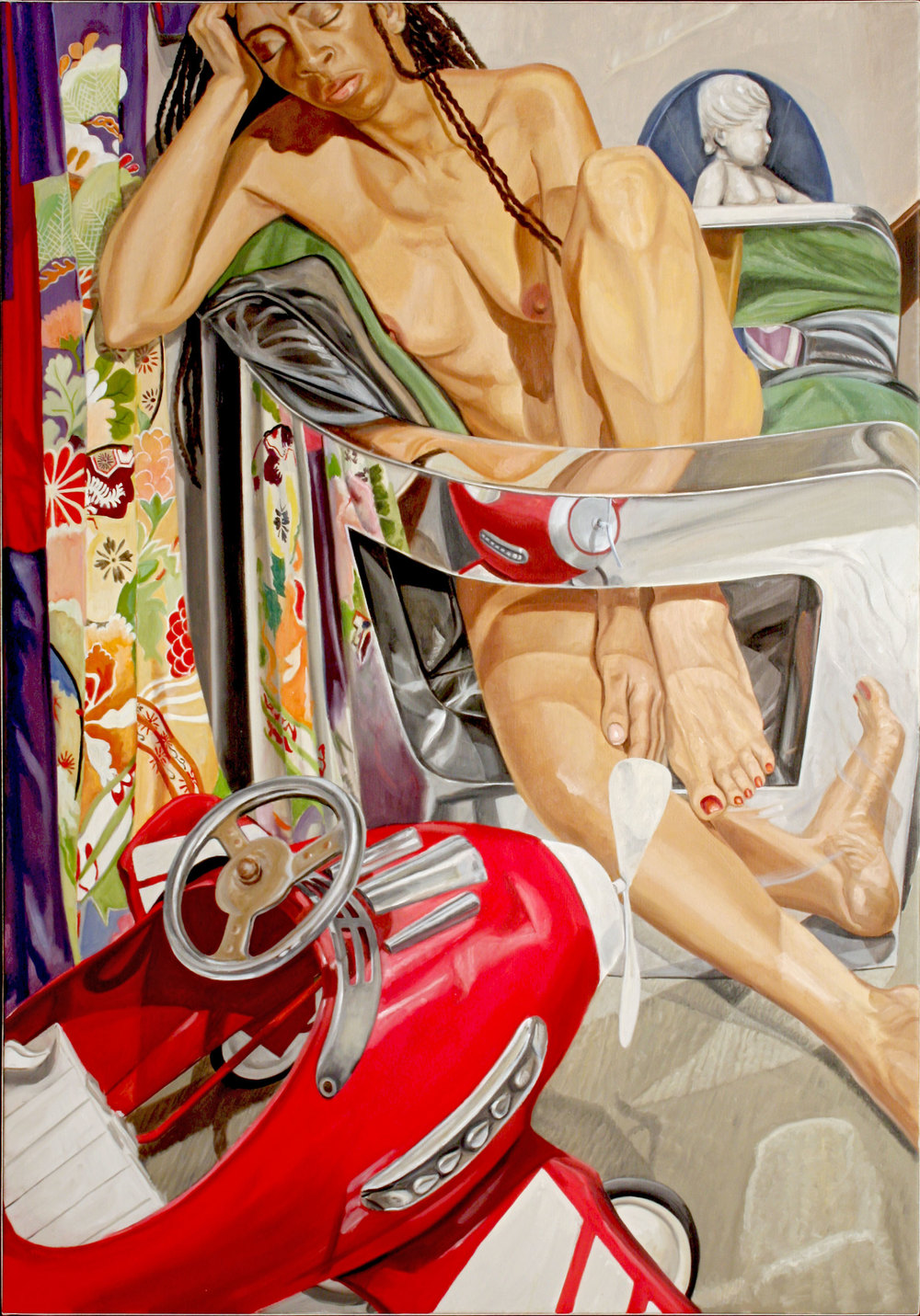 Model with Chrome Chair, Kiddie Car, Kimono and Bambino , 2008 Oil on canvas 60 x 42 inches
