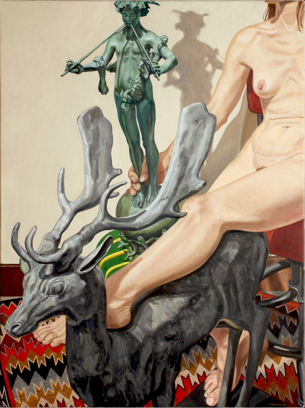 Model with Lead Stag and Universal Pan , 2009 Oil on canvas 48 x 36 inches