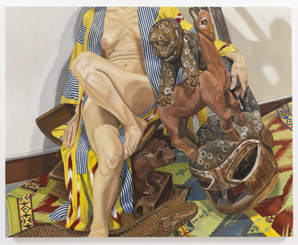 Model in Japanese Robe with African Carvings , 2009 Oil on canvas 48 x 60 inches