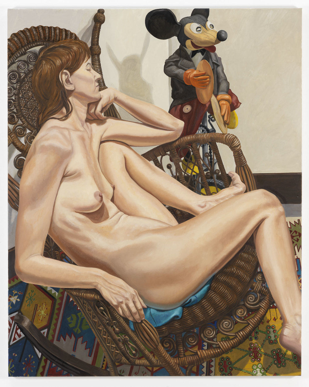 Model with Mickey Mouse on Unicycle and Whicker Chair , 2009 Oil on canvas 60 x 48 inches