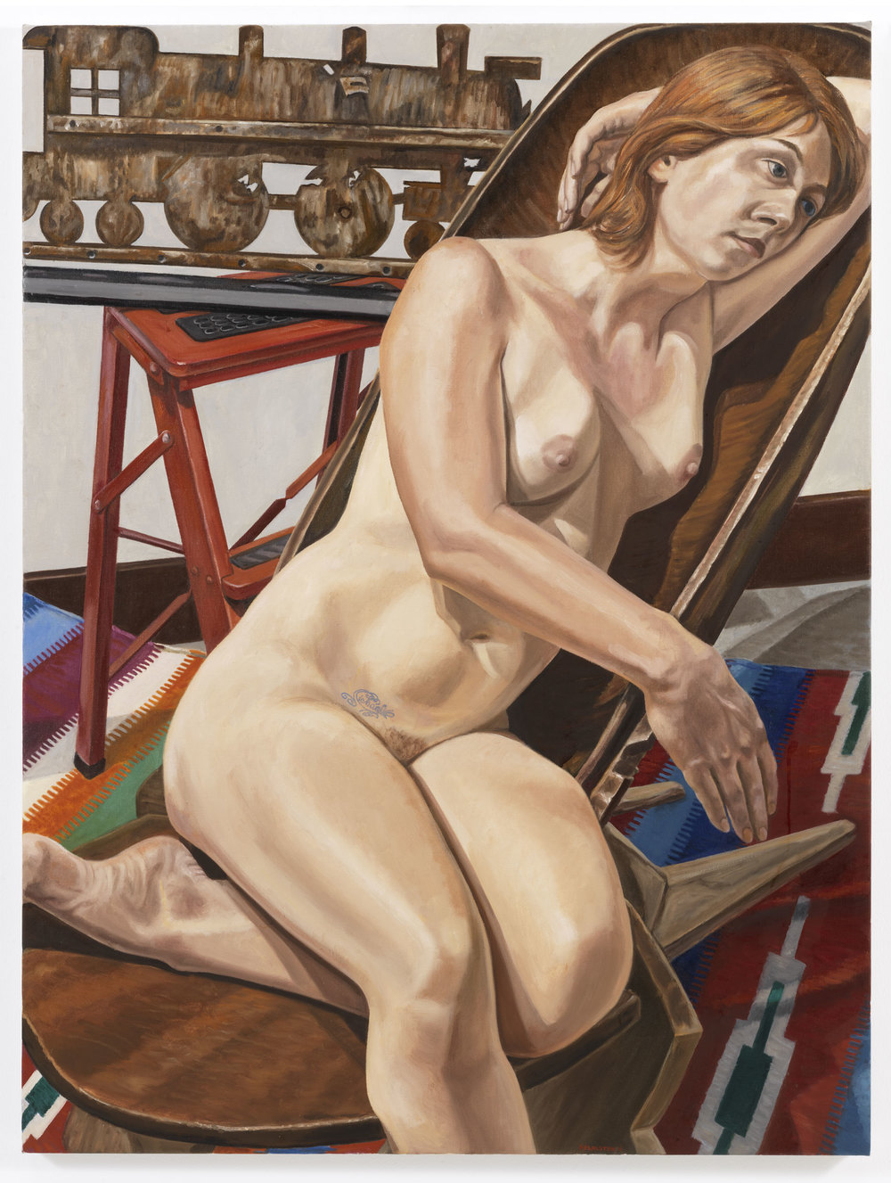 Model with Choochoo Weather Vane and African Chair , 2010 Oil on canvas 48 x 36 inches