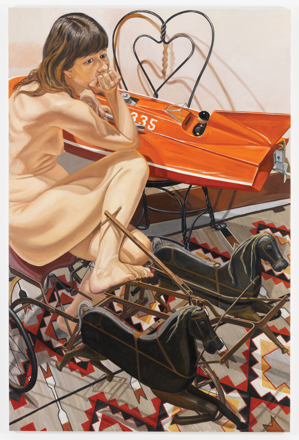 MODEL WITH SPEEDBOAT AND KIDDIE CAR HARNESS RACER , 2010 Oil on canvas 72 x 48 inches