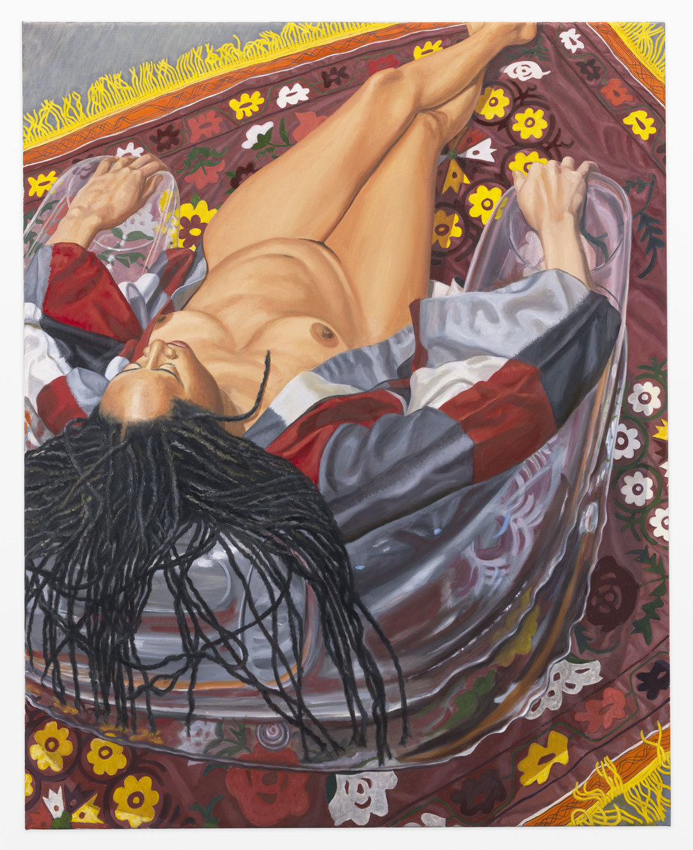 Model with Kimono on Clear Plastic Chair with Floral Rug , 2011 Oil on canvas 60 x 48 inches