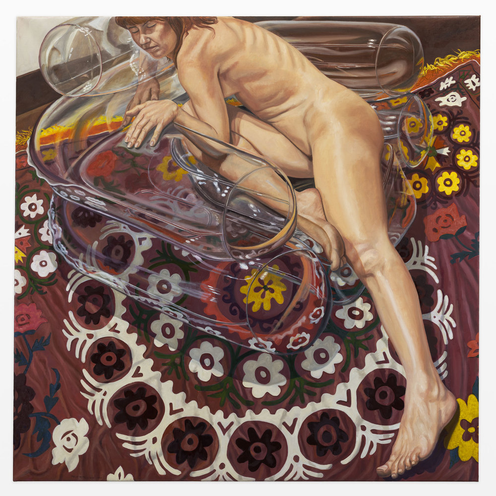 Model on Clear Plastic Chair with Floral Rug , 2011 Oil on canvas 60 x 60 inches