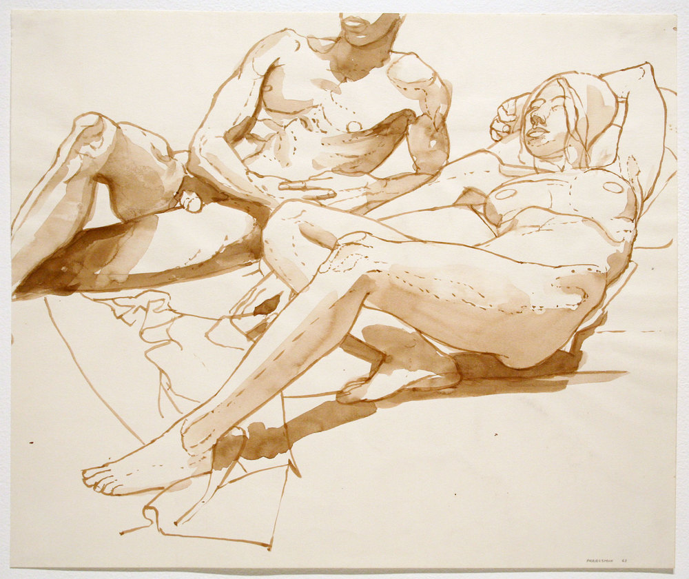 RECLINING MALE AND FEMALE MODELS , 1963 Watercolor on paper 14 x 16 3/4 inches