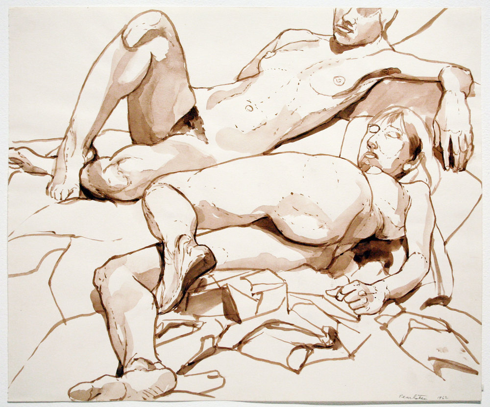 TWO MODELS RECLINING , 1962 Watercolor on paper 14 x 17 inches