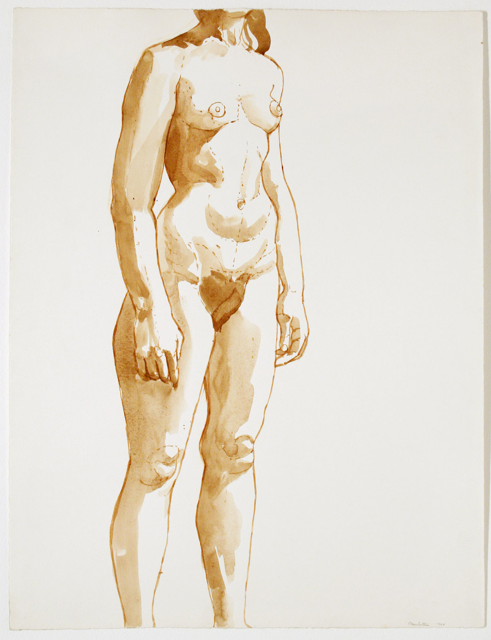 STANDING NUDE, FRONTAL , 1964 Watercolor on paper 27 x 23 3/4 inches