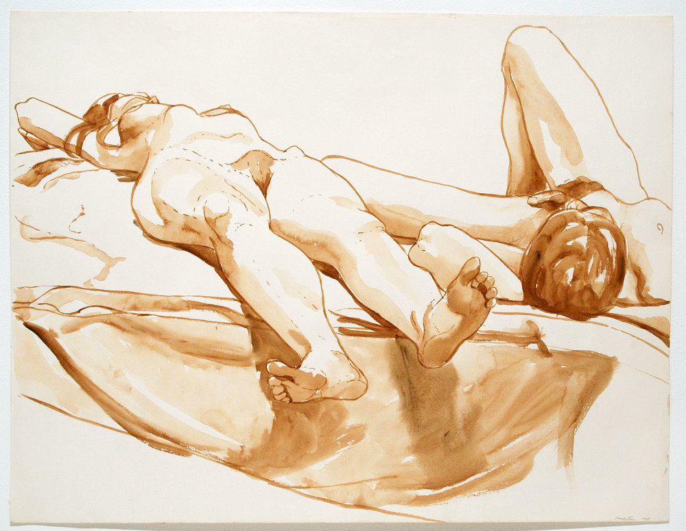 RECLINING MALE AND FEMALE MODELS  ,  1965 Watercolor on charcoal paper 19 3/4 x 25 3/4 inches