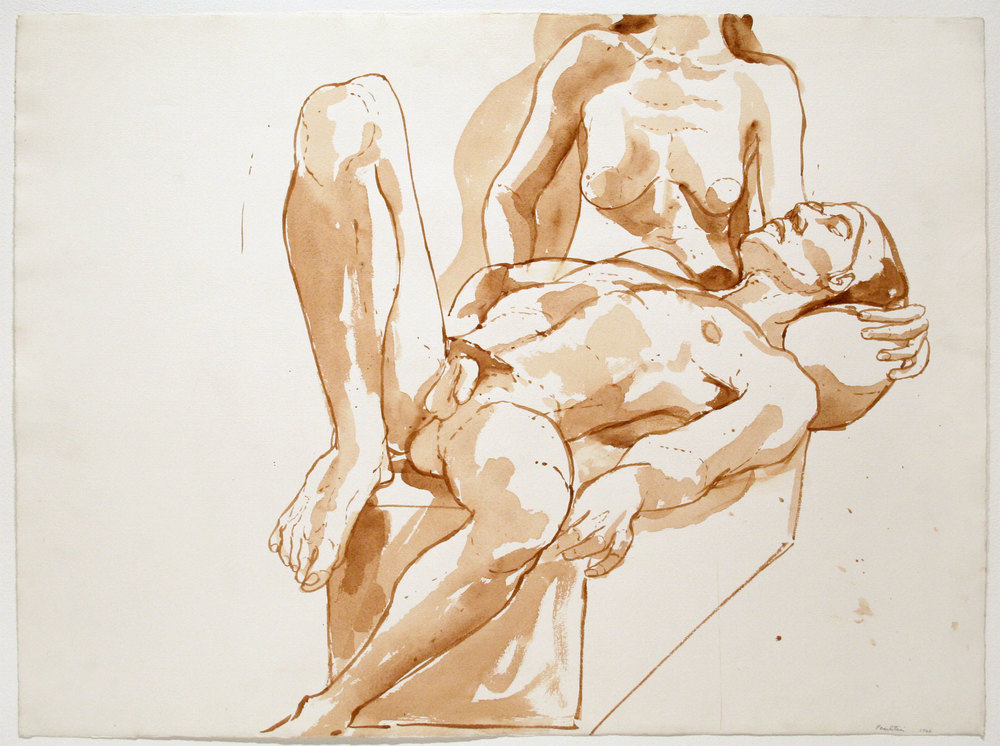 FEMALE SEATED, MALE RECLINING , 1966 Watercolor on watercolor paper 22 1/4 x 30 inches
