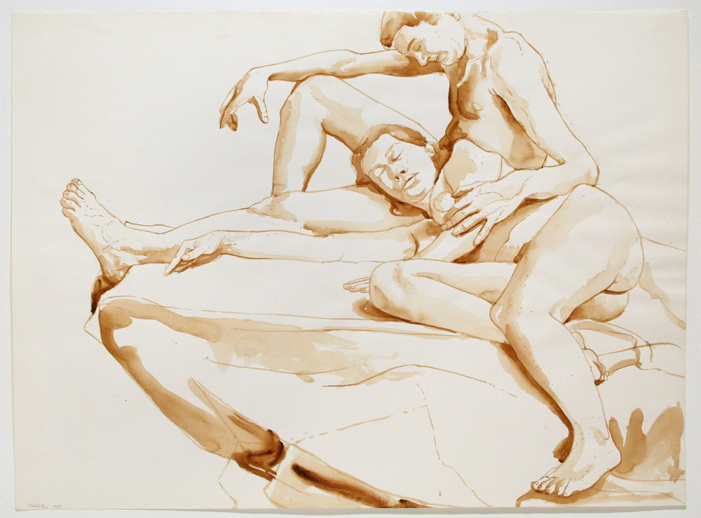 MALE SEATED, FEMALE RECLINING , 1968 Watercolor on watercolor paper 22 x 30 inches
