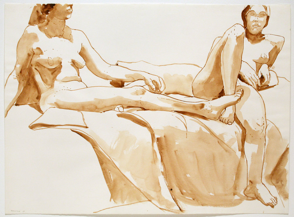 TWO SEATED NUDES , 1968 Watercolor on watercolor paper 22 x 30 inches