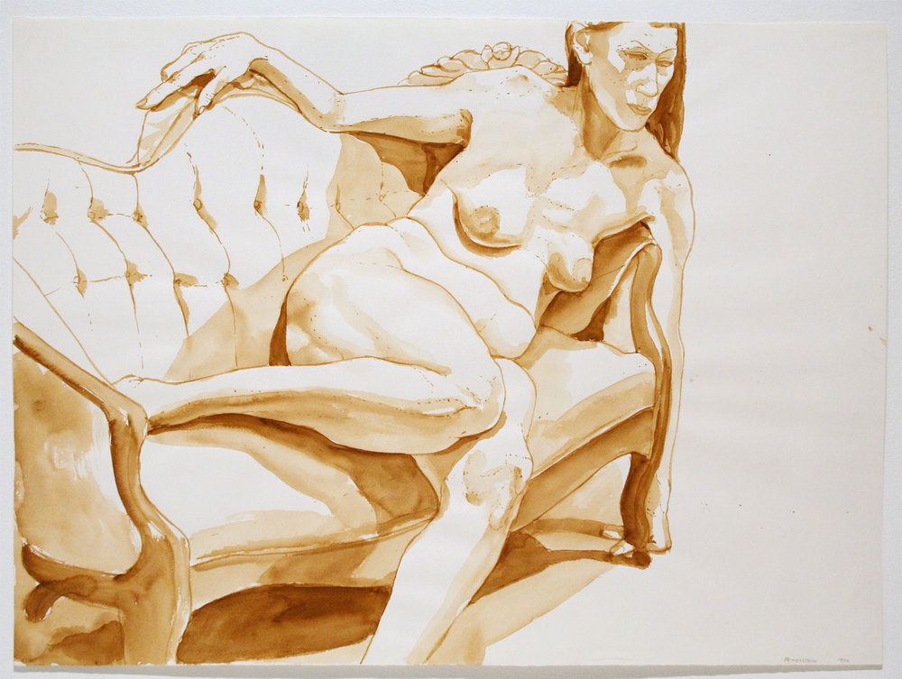 NUDE RECLINING ON COUCH , 1970 Watercolor on watercolor paper 22 x 30 inches