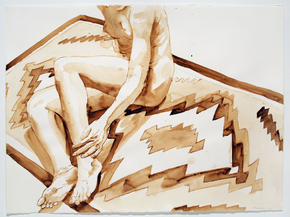 NUDE SEATED ON NAVAJO RUG,  1972 Watercolor on watercolor paper 22 x 30 inches