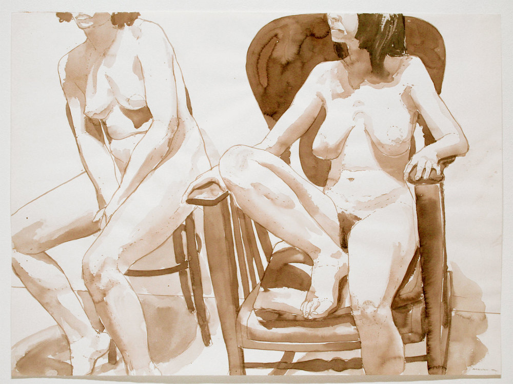 TWO SEATED MODELS, ONE ON VICTORIAN CHAIR , 1972 Watercolor on watercolor paper 22 x 30 inches