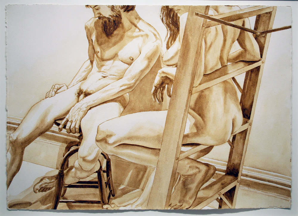 MALE MODEL ON STOOL AND FEMALE MODEL ON LADDER , 1976 Sepia wash on watercolor paper 29 1/2 x 41 inches