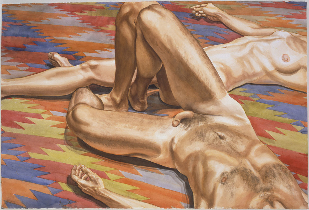 MALE AND FEMALE MODELS ON AFGHANISTAN RUG , 1986 Watercolor on paper 40 x 59 1/2 inches