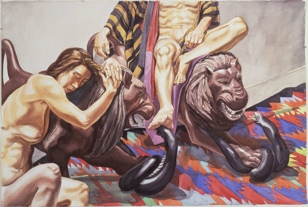 LUNA PARK LIONS , 1991 Watercolor on paper 40 x 60 inches