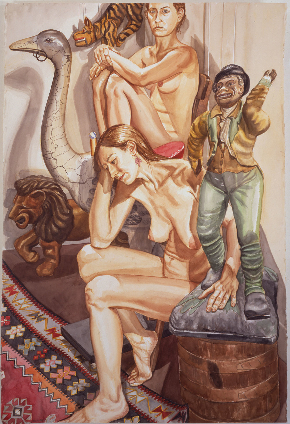 Two Nudes with Lion, Ostrich and Minstrel , 1994 Watercolor on paper 60 x 40 1/4 inches
