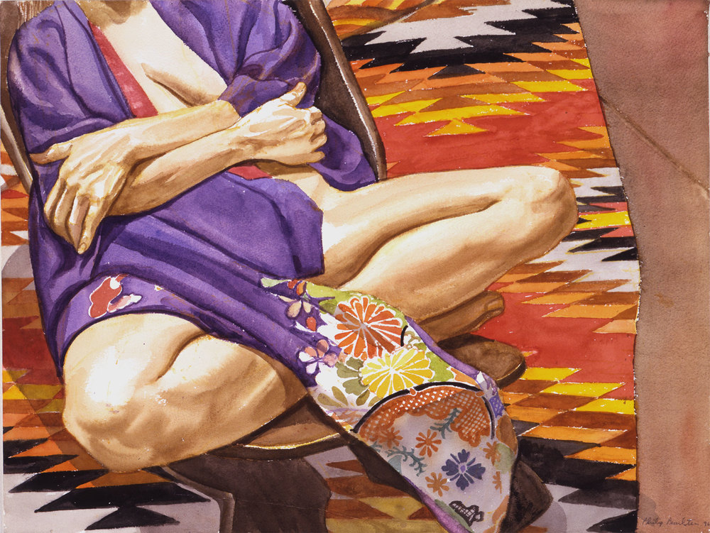 MODEL WITH KIMONO ON NAVAHO RUG  ,  1996 Watercolor on paper 18 x 24 inches