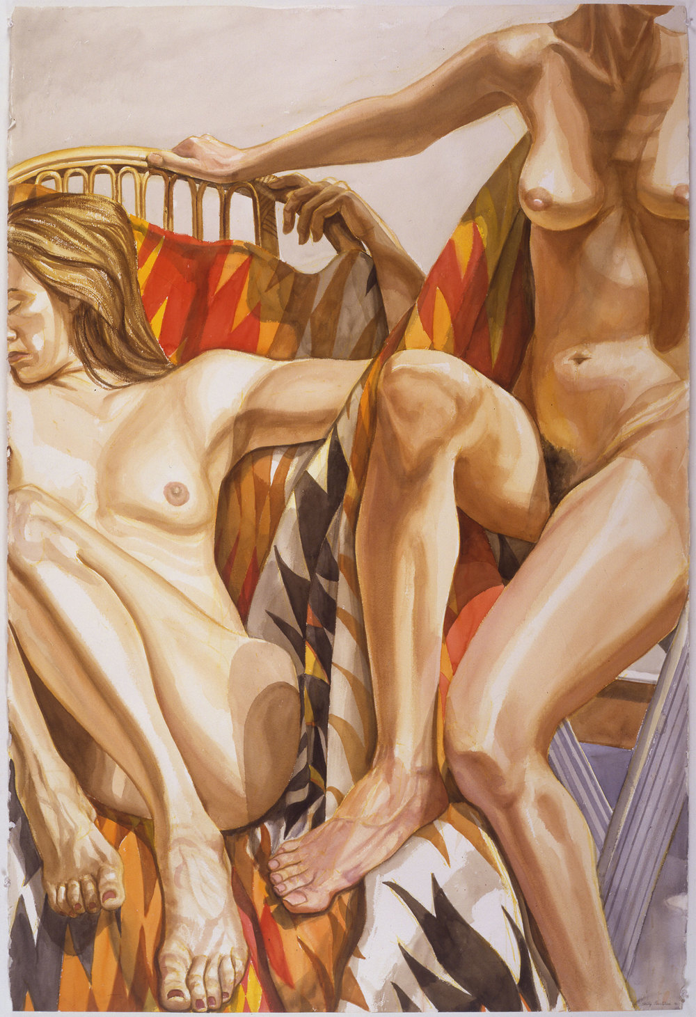 TWO NUDES WITH BAMBOO LOUNGE AND NAVAHO BLANKET,  1996 Watercolor on paper 60 x 40 1/4 inches