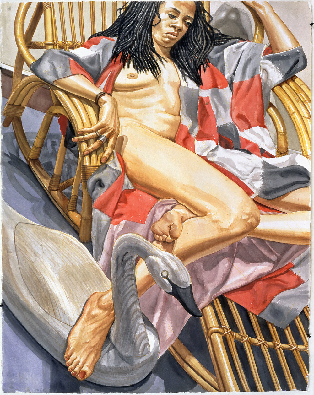 NUDE ON BAMBOO CHAISE WITH SWAN DECOY  ,  1997 Watercolor on paper 60 x 40 1/2 inches