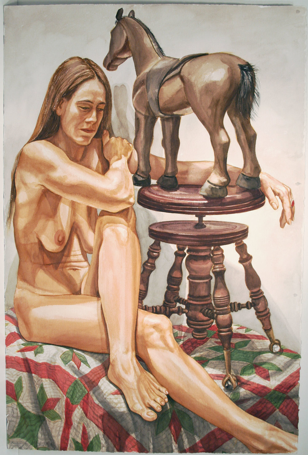 NUDE WITH FOLK ART HORSE , 1997 Watercolor on paper 44 x 36 inches