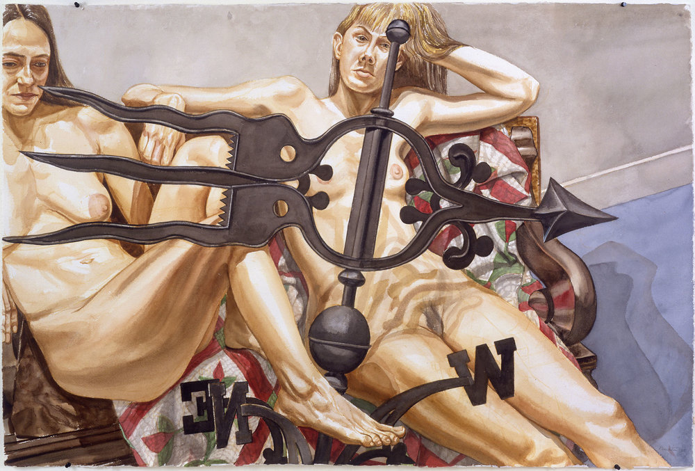 TWO NUDES WITH BANNER WEATHER VANE , 1997-98 Watercolor on paper 40 1/2 x 60 inches