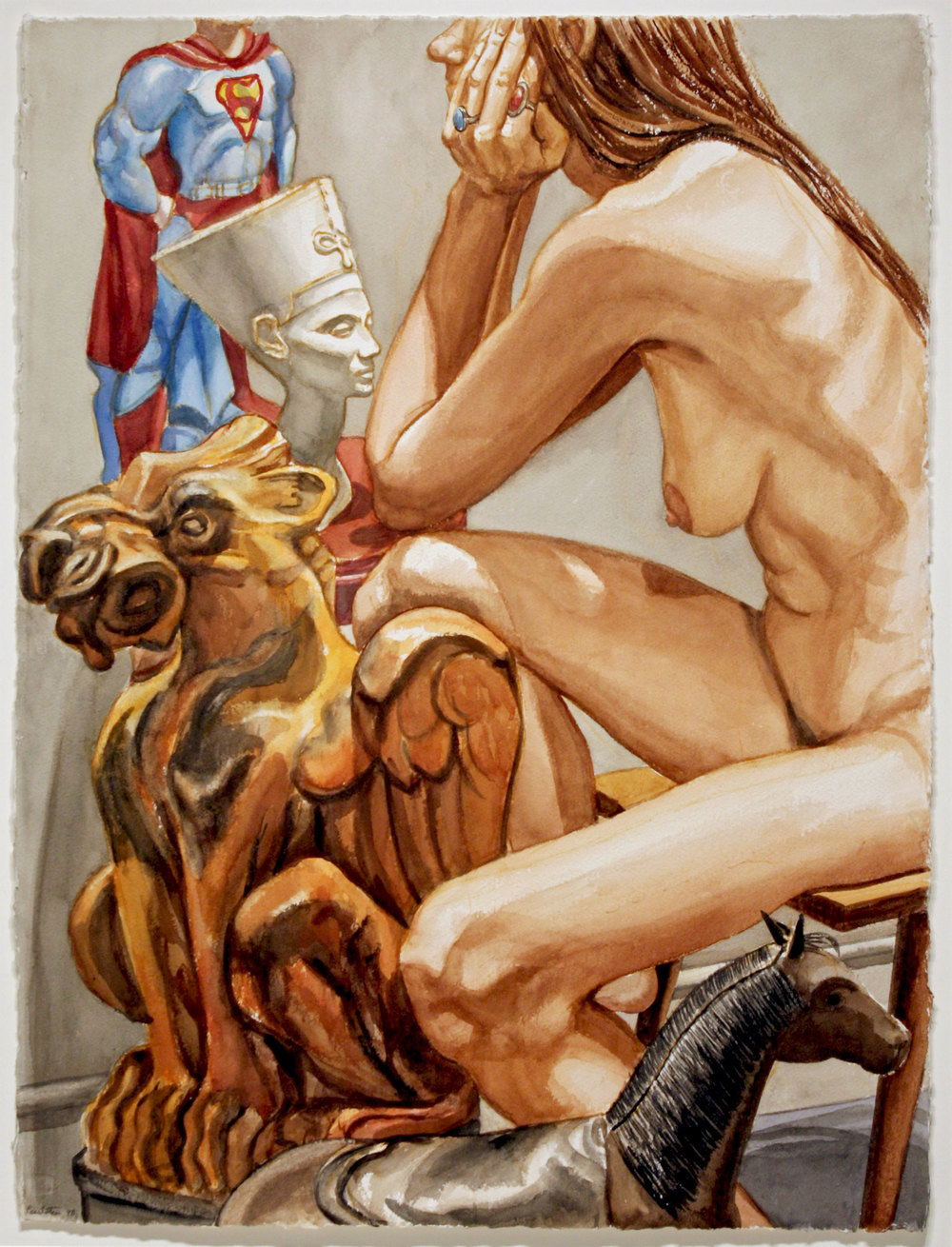 Study with Model for Superman, Nefertiti and Gargoyle, 1998 Watercolor on paper 30 1/8 x 22 5/8 inches