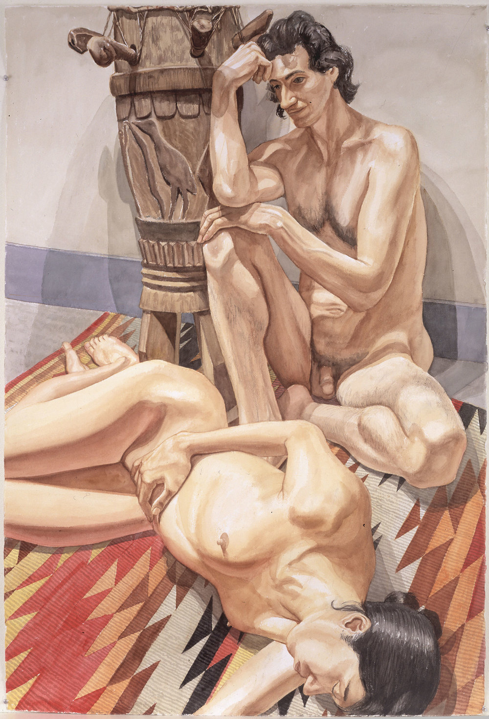 NUDE COUPLE, AFRICAN DRUM, NAVAHO RUG, 1998 Watercolor on paper 59 1/2 x 40 inches