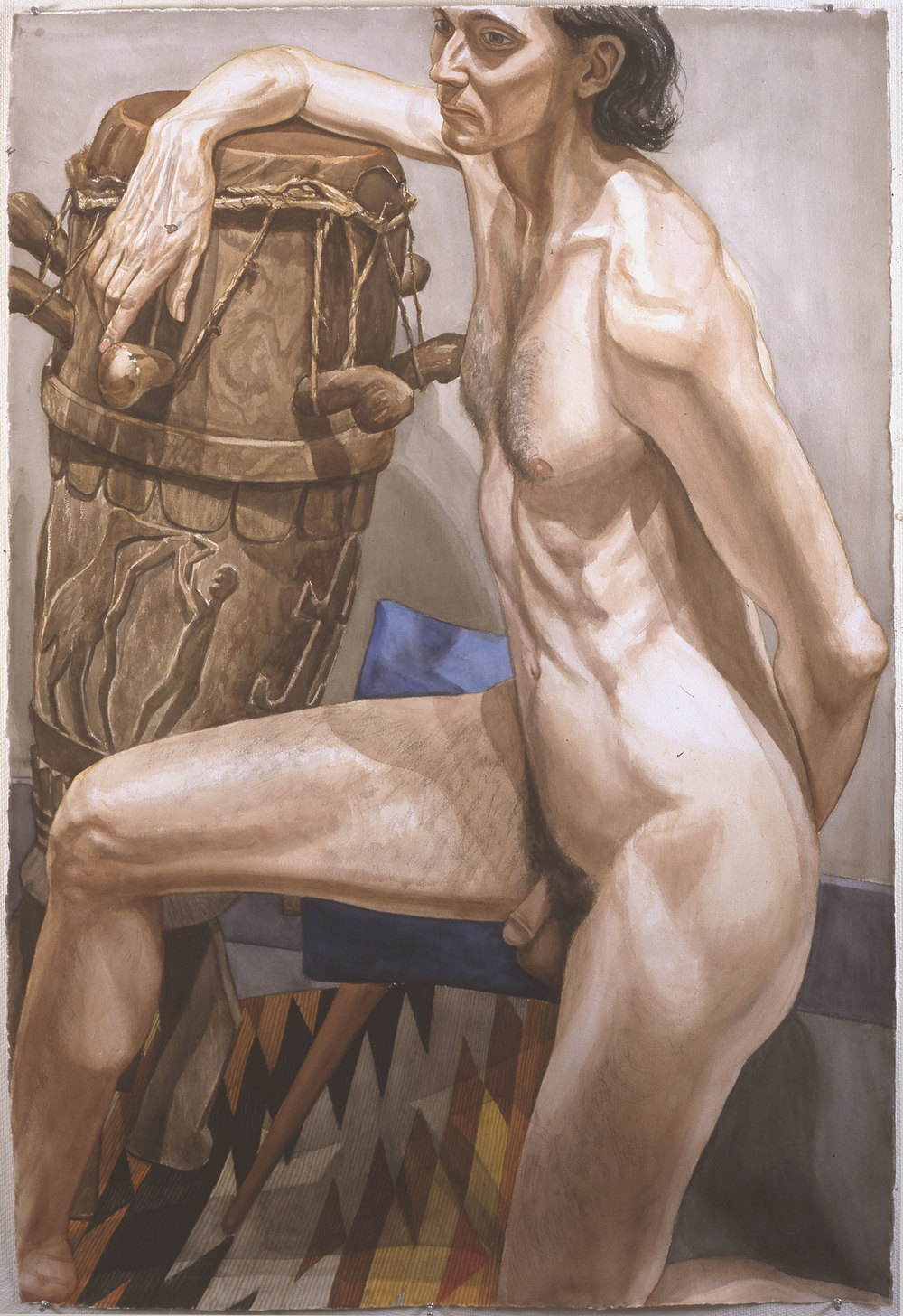 MALE NUDE WITH AFRICAN DRUM, 1998 Watercolor on paper 60 x 40 inches