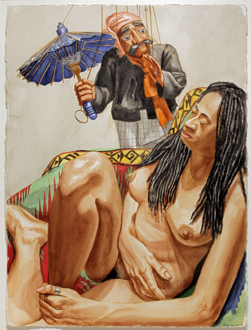 MODEL WITH DREADLOCKS AND BURMESE PUPPET WITH UMBRELLA , 1998 Watercolor on paper 30 1/4 x 22 3/8 inches