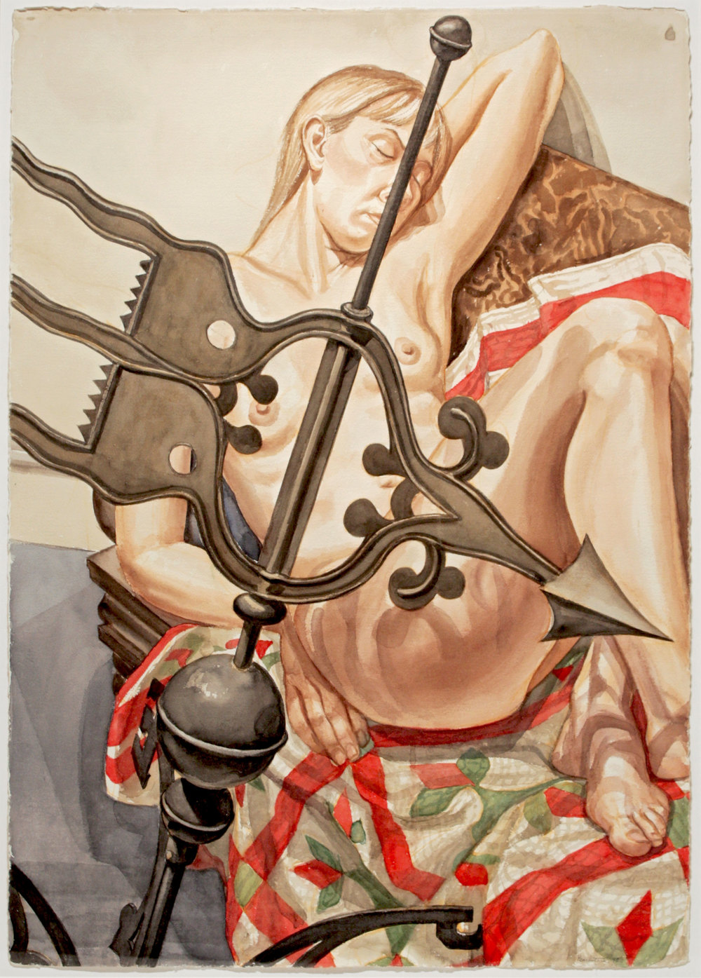 Nude with Banner Weathervane , 1998 Watercolor on paper 41 1/2 x 29 1/8 inches