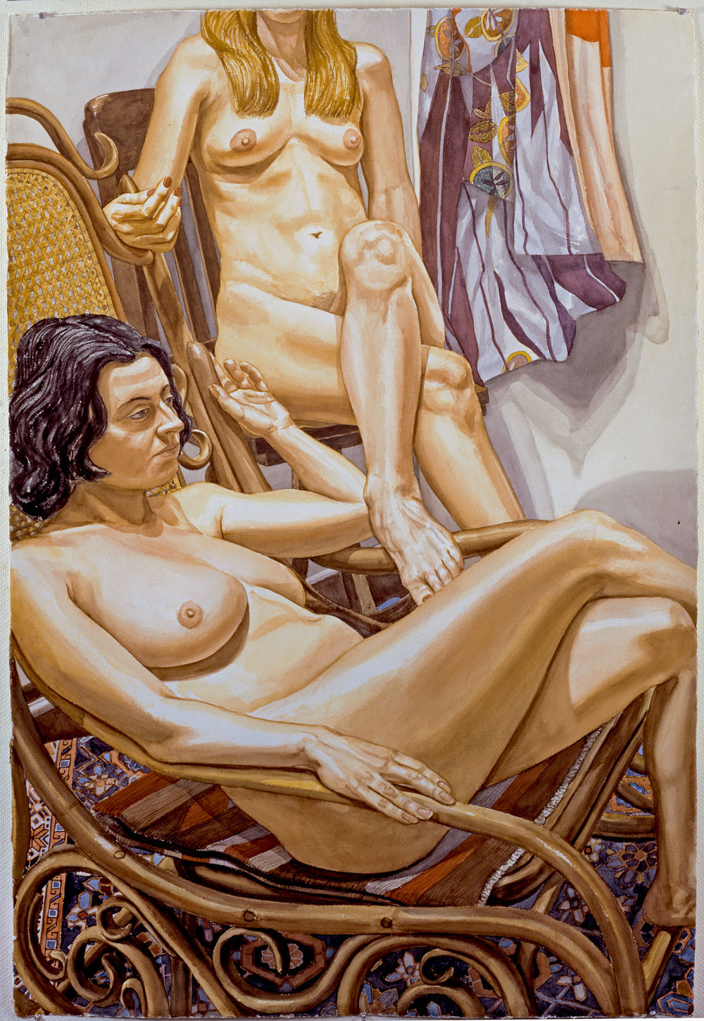 TWO NUDES, BENT WOOD CHAIR, KIMONO , 1998 Watercolor on paper 60 x 40 inches