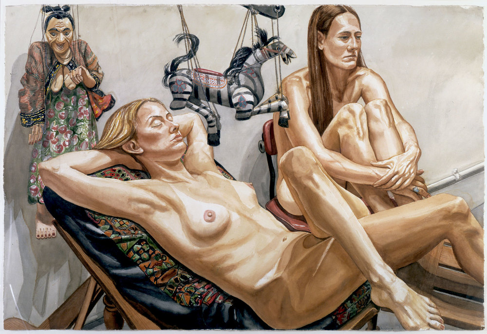 Study for Two Models with Zebra Marionette and Woman Marionette , 1998 Watercolor on paper 40 x 60 inches